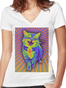 Psychedelic Kitty (Remaster) Women's Fitted V-Neck T-Shirt