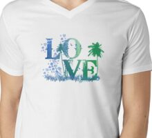 LOVE in green and blue Mens V-Neck T-Shirt