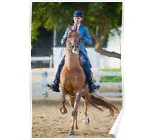 Impasto-stylized photo of a woman equestrian riding horse in show arena Poster