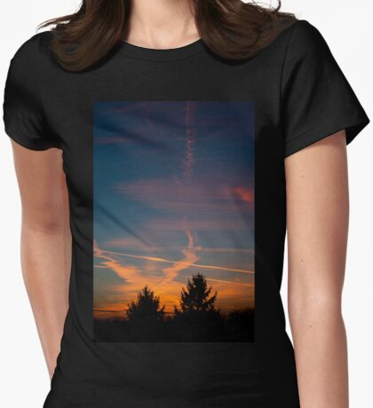 Evening aeroplane contrails sunset Womens Fitted T-Shirt