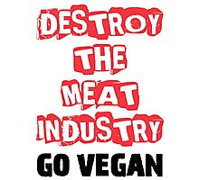 Destroy The Meat Industry: Go Vegan Photographic Print