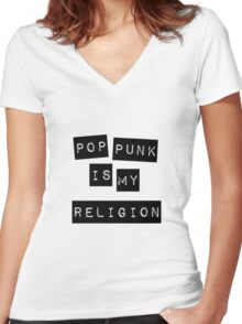 Pop Punk Is My Religion  Women's Fitted V-Neck T-Shirt