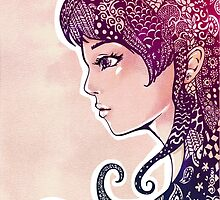 Girl with Decorative Hair by tanyadraws