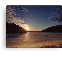 Frozen lake in the evening Canvas Print