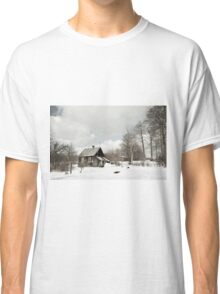 dilapidated wooden house cottage in winter  Classic T-Shirt