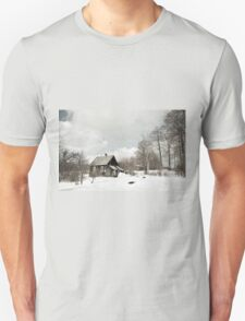 dilapidated wooden house cottage in winter  Unisex T-Shirt