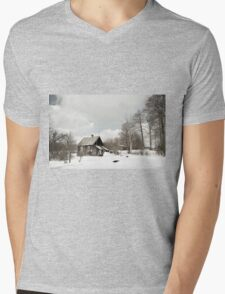 dilapidated wooden house cottage in winter  Mens V-Neck T-Shirt
