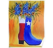 Bluebonnets, Boot & The Lone Star State Poster