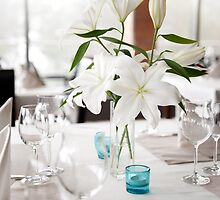 White Lily flowers bridal decoration by Arletta Cwalina