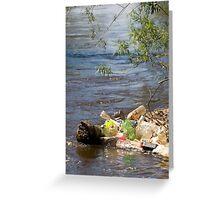 bottles damage river after flood Greeting Card