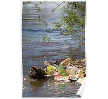 bottles damage river after flood Poster