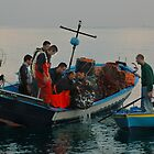 FISHERMEN CLAIMING THEIR REWARD, SCILLA, ITALY by Edward J. Laquale
