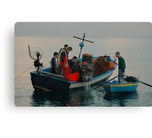 FISHERMEN CLAIMING THEIR REWARD, SCILLA, ITALY Canvas Print