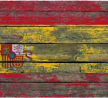 Flag of Spain on Rough Wood Boards Effect Sticker
