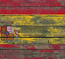 Flag of Spain on Rough Wood Boards Effect by Jeff Bartels