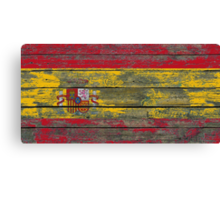 Flag of Spain on Rough Wood Boards Effect Canvas Print