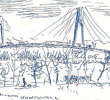 SKY TRAIN BRIDGE NEW WESTMINSTER BC APRIL 5 2011 (C2011) by Paul Romanowski