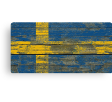 Flag of Sweden on Rough Wood Boards Effect Canvas Print