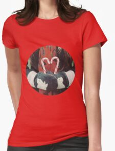 Candy cane love Womens Fitted T-Shirt
