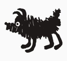 Cute, black, scribbly puppy dog by Mhea