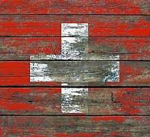 Flag of Switzerland on Rough Wood Boards Effect by Jeff Bartels