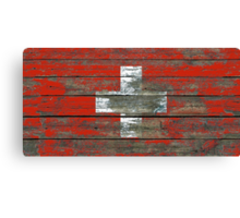 Flag of Switzerland on Rough Wood Boards Effect Canvas Print