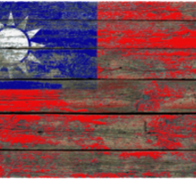 Flag of Taiwan on Rough Wood Boards Effect Sticker