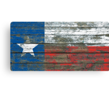Flag of Texas on Rough Wood Boards Effect Canvas Print