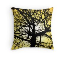 Winter Tree Yellow Sky Throw Pillow
