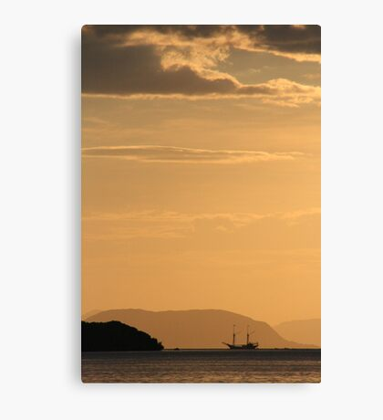 boat at sunset, flores, indonesia Canvas Print