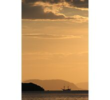 boat at sunset, flores, indonesia Photographic Print