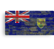 Flag of Turks and Caicos on Rough Wood Boards Effect Canvas Print