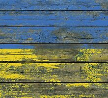 Flag of Ukraine on Rough Wood Boards Effect by Jeff Bartels
