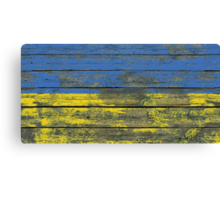 Flag of Ukraine on Rough Wood Boards Effect Canvas Print