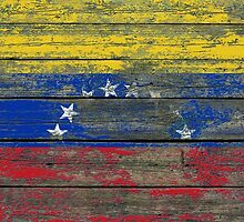 Flag of Venezuela on Rough Wood Boards Effect by Jeff Bartels