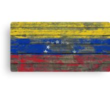 Flag of Venezuela on Rough Wood Boards Effect Canvas Print