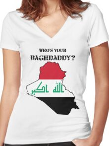 Who's Your Baghdaddy? (Flag) Women's Fitted V-Neck T-Shirt