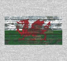 Flag of Wales on Rough Wood Boards Effect Kids Tee