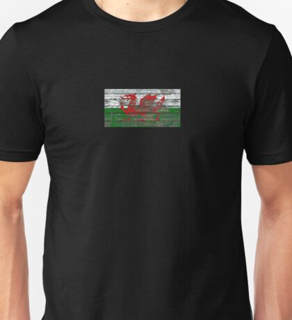 Flag of Wales on Rough Wood Boards Effect Unisex T-Shirt