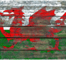 Flag of Wales on Rough Wood Boards Effect Sticker