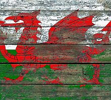 Flag of Wales on Rough Wood Boards Effect by Jeff Bartels