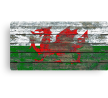 Flag of Wales on Rough Wood Boards Effect Canvas Print