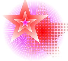 pink rays and stars background by mettus