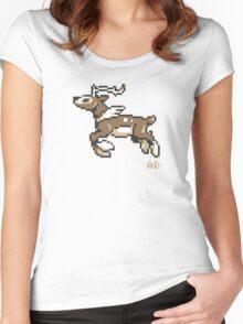 8-Bit winter Sawsbuck Women's Fitted Scoop T-Shirt