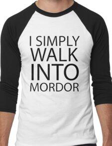 I simply walk into Mordor (black lettering) Men's Baseball ¾ T-Shirt