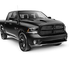 Black 2015 Dodge RAM 1500 4x4 pickup truck art photo print by ArtNudePhotos