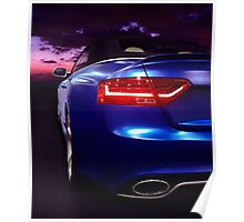 Car on a highway at sunset art photo print Poster