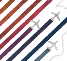 Airplanes With Colorful Trails Sticker