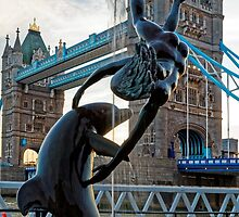 Girl with a Dolfin at Tower Bridge, London, England by atomov