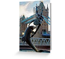 Girl with a Dolfin at Tower Bridge, London, England Greeting Card